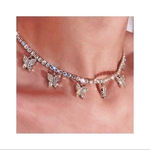 gold butterfly rhinestones choker